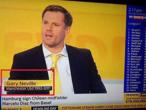 Oops! Sky Sports confuse Liverpool legend Jamie Carragher for Manchester United hero Gary Neville