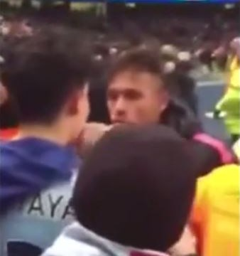 Barcelona's Neymar has touchline row with Manchester City fan after Champions League tie