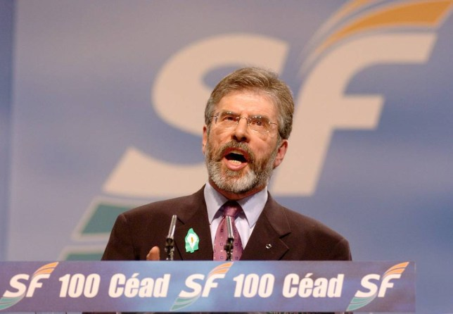 Sinn Fein President Gerry Adams makes his address to the Sinn Fein party conference in Dublin Saturday March 5, 2005. Sinn Fein, the Irish Republican Army-linked party under fire over the IRA's killing of a Belfast man and other crimes, invited the victim's sisters into its party conference Saturday in an unprecedented bid to defuse their criticism.  (AP Photo/John Cogill)