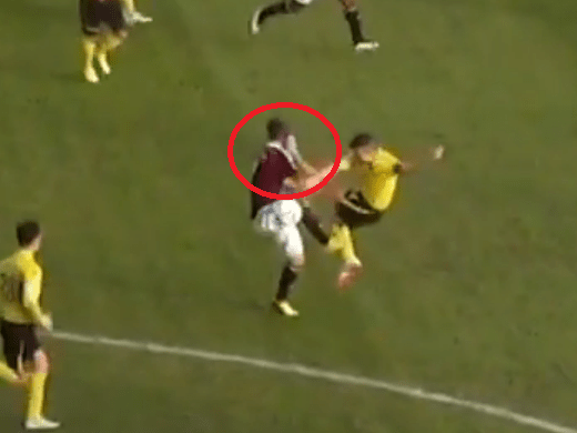 Livingston's Jason Talbot lucky to escape with only a caution after almost decapitating Hearts' Sam Nicholson