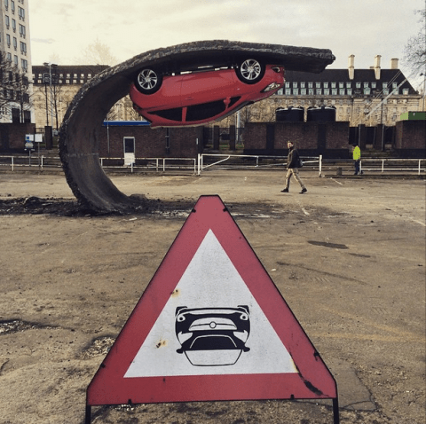 There's an upside down Vauxhall Corsa parked at London's Southbank Centre