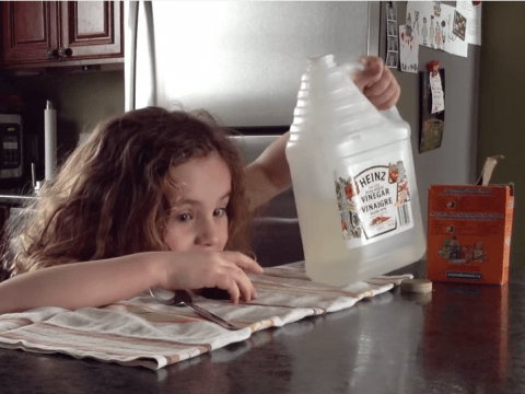 Little girl's baking soda and vinegar volcano video doesn't end how you expect
