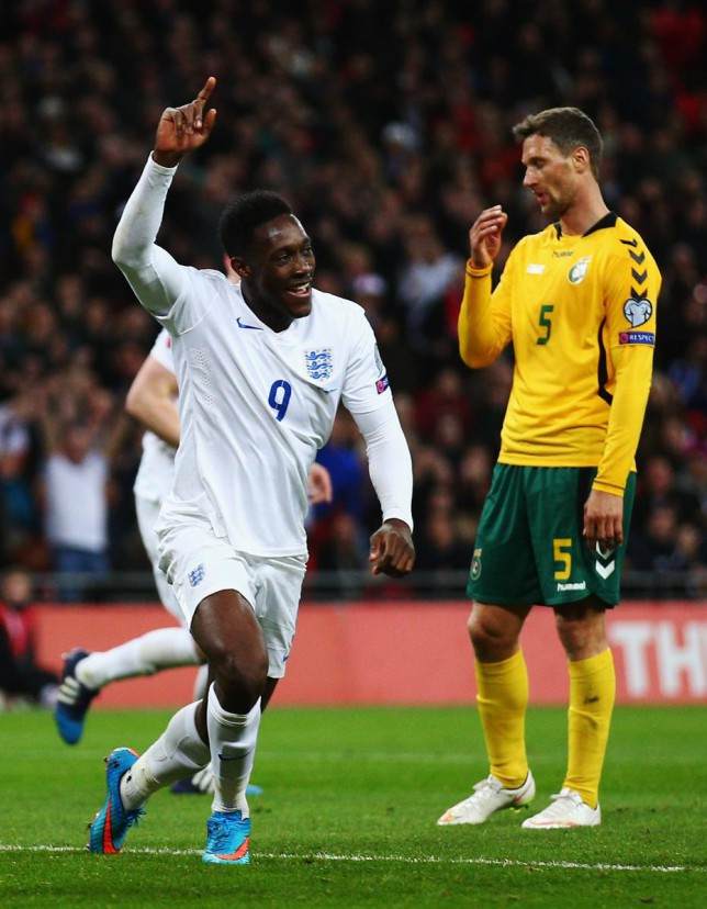 Danny Welbeck celebrates netting England's second goal of the night against Lithuania
