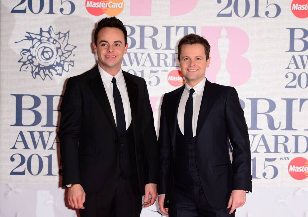 Anthony McPartlin and Declan Donnelly (right) arriving for the 2015 Brit Awards at the O2 Arena, London. PRESS ASSOCIATION Photo. Picture date: Wednesday February 25, 2015. See PA story SHOWBIZ Brits. Photo credit should read: Dominic Lipinski/PA Wire
