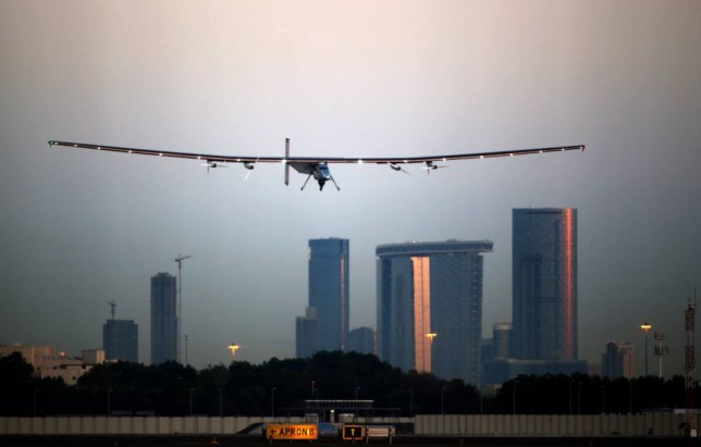 Bertrand Piccard, one of the two Swiss pilots of the solar-powered plane Solar Impulse 2, lands at the Emirati capital Abu Dhabi's small Al-Bateen airport during the third test flight early on March 2, 2015. Organisers hope that Solar Impulse 2 may head off around the globe as early as March 7 but caution that the launch is dependent on the weather, even in the relatively cloudless Gulf. AFP PHOTO / MARWAN NAAMANIMARWAN NAAMANI/AFP/Getty Images