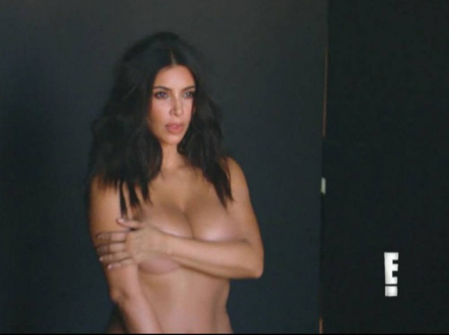 Kim Kardashian strips off in Keeping Up with the Kardashians trailer (Picture: E!)