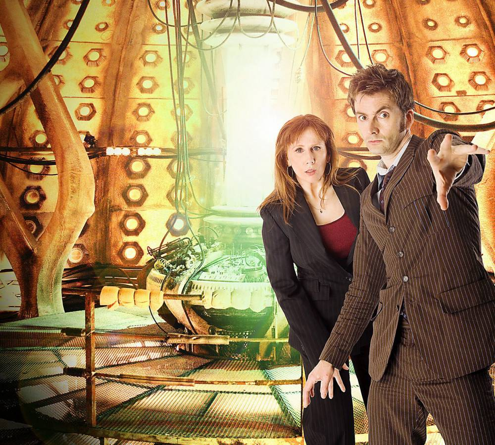 Television Programme 'Doctor Who'. BBC  Picture shows: (l-r) CATHERINE TATE as Donna, DAVID TENNANT as The Doctor. TX: BBC ONE Saturday 5th April 2008   WARNING:  Use of this copyright image is subject to the terms of use of BBC Pictures  BBC Digital Picture Service.  In particular, this image may only be published in print for editorial use during the publicity period (the weeks immediately leading up to and including the transmission week of the relevant programme or event and three review weeks following) for the purpose of publicising the programme, person or service pictured and provided the BBC and the copyright holder in the caption are credited.  Any use of this image on the internet and other online communication services will require a separate prior agreement with BBC Pictures.  For any other purpose whatsoever, including advertising and commercial prior written approval from the copyright holder will be required. *** Image embargoed for publication until 6th March 2008 ***