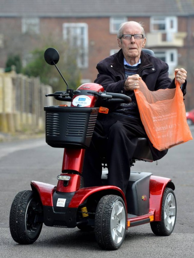 Pictured -Albert Carter, 80 who has been banned from his local Sainsburys. See South West copy NTSCOOTER. A grandfather has been banned from entering any Sainsburyís store in Britain, after he accidentally drove his mobility SCOOTER into another shopper. Albert Carter, 80, says he has been made to feel like a ìshoplifterî following the mishap which occurred on March 7. Mr Carter received a letter from the supermarket chain stating police would be called if he is seen in any of its 1,200-plus stores.
