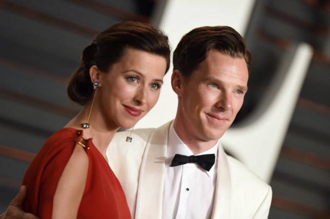 BEVERLY HILLS, CA - FEBRUARY 22: Actor Benedict Cumberbatch and wife Sophie Hunter arrive at the 2015 Vanity Fair Oscar Party Hosted By Graydon Carter at Wallis Annenberg Center for the Performing Arts on February 22, 2015 in Beverly Hills, California. (Photo by Axelle/Bauer-Griffin/FilmMagic)