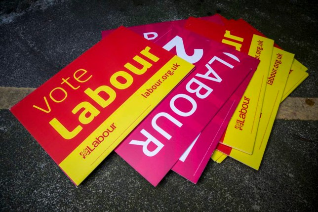 LONDON, ENGLAND - MARCH 30: Labour Party posters are seen on the ground of a secure car park at the London Labour Party headquarters on March 30, 2015 in London, England.  British Prime Minister David Cameron will ask Queen Elizabeth II to dissolve parliament today, formally marking the start of campaigning for one of the most unpredictable elections in decades.  (Photo by Rob Stothard/Getty Images)