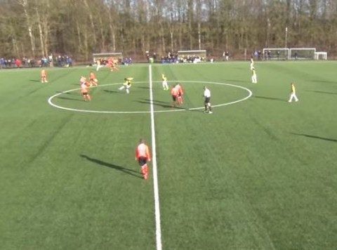 Vitesse Arnhem 12-year-old Mike Cyubahiro scores from kick-off four seconds into match