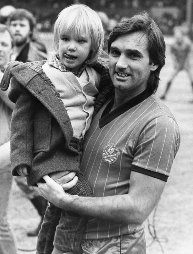 March 1984. George Best (died November 2005) with son Calum, March 1984. Although Calum is brought up mainly in America with Angie, football is his abiding passion. His ambition is to play professionally, preferably for Manchester United.