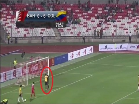 Fan invades pitch just to hug Arsenal goalkeeper David Ospina during Colombia's 6-0 thrashing of Bahrain
