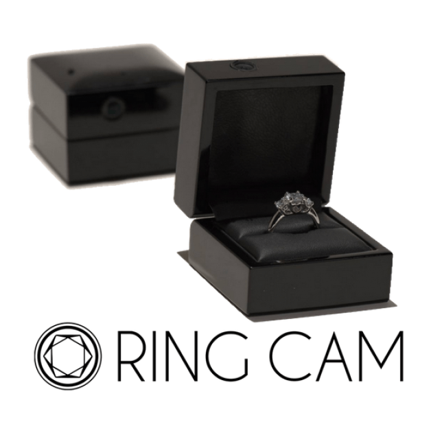 Ringcam engagement ring box with hidden camera