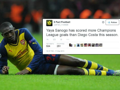 Arsenal's Yaya Sanogo has scored more Champions League goals this season than Chelsea's Diego Costa