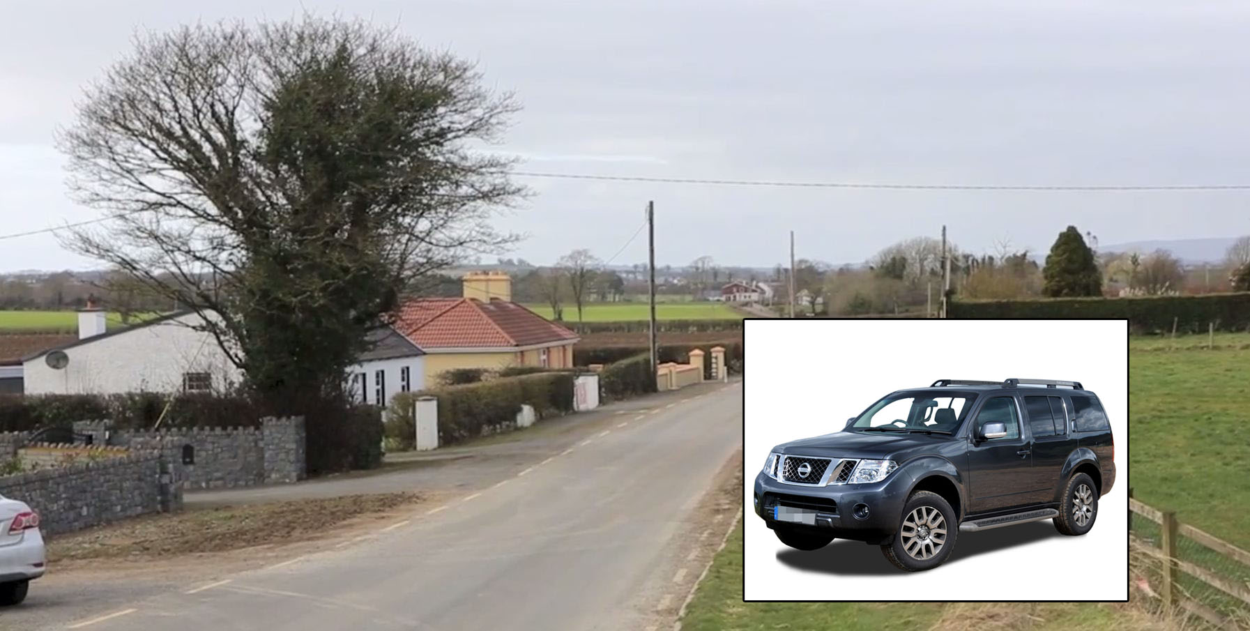 Village of Cullahill in Laois. Stock picture of a Nissan 4x4
