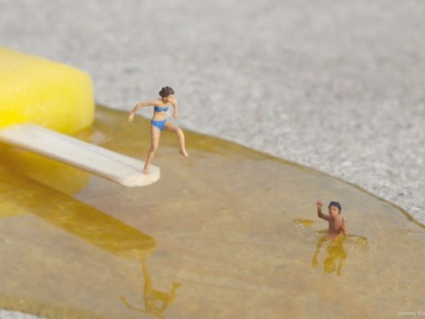 Artist creates urban installations of teeny tiny people leading better lives than you