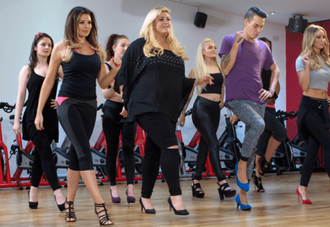 Don't step on my blue heels: TOWIE's Bobby Norris upstages the girls at stiletto workout class