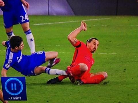Paris Saint-Germain forward Zlatan Ibrahimovic harshly sent off against Chelsea