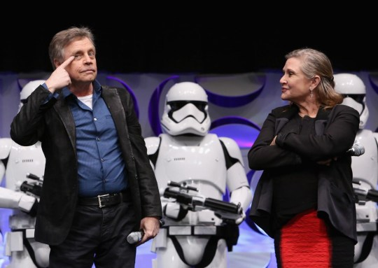 Mark Hamill (L) and Carrie Fisher will be reprising their roles as Luke Skywalker and Princess Leia (Jesse Grant/Getty Images for Disney)