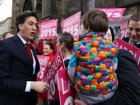 Ed Miliband is left hanging by toddler