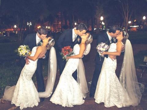 Identical Brazilian triplets got married in amazing three-way wedding