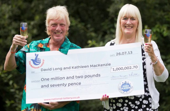 Camelot handout photo dated 30/07/13 of David Long and Kathleen Mackenzie celebrating their win£1,000,002.70 on the Euro Millions draw. The have won £1 million in the EuroMillions for a second time, having already scooped a jackpot in 2013, Camelot said.   PRESS ASSOCIATION Photo. Issue date: Wednesday April 1, 2015. See PA story LOTTERY Double. Photo credit should read: Tom Maddick/Camelot/PA Wire NOTE TO EDITORS: This handout photo may only be used in for editorial reporting purposes for the contemporaneous illustration of events, things or the people in the image or facts mentioned in the caption. Reuse of the picture may require further permission from the copyright holder.