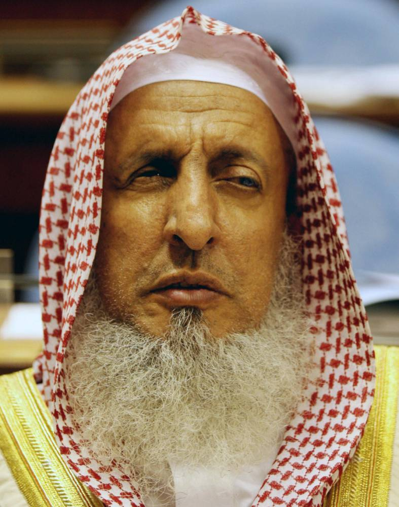 Saudi Grand Mufti Sheikh Abdul Aziz al-Sheikh listens to the speech of Saudi King Abdullah bin Abdul Aziz al-Saud at the Saudi Shura (consultative) Council in the Saudi Capital Riyadh on March 15, 2008. AFP PHOTO/HASSAN AMMAR (Photo credit should read HASSAN AMMAR/AFP/Getty Images)