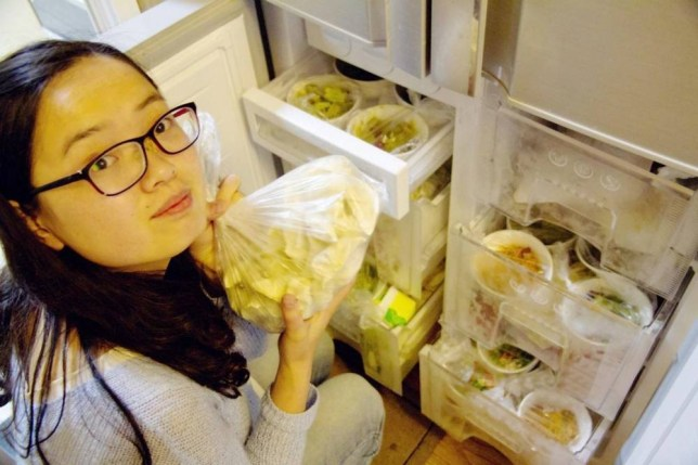 Zhao Mai with some of the year's worth of food her husband Yin Yunfeng cooked her.