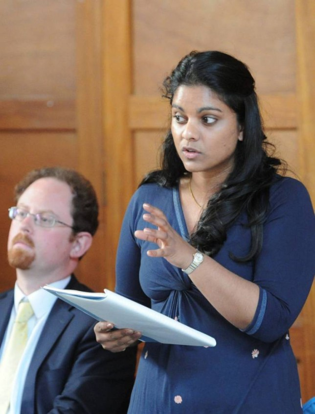 """Chamali Fernando.  A Tory parliamentary candidate has sparked outrage after claiming mental health patients should wear WRISTBANDS to identify their conditions.  See MASONS story MNBAND.  Chamali Fernando, candidate for Cambridge, was speaking at a hustings event hosted by the campaign group Keep Our NHS Public when she made the comment.  She said wearing wristbands indicating the nature of the person's condition would be helpful to professionals as they often could not explain themselves.  Ms Fernando, a barrister for 12 years, said it would help people such as lawyers to treat clients differently based on their wristband colour.  The event intended to examine the Cambridge parliamentary candidates' views on the privatization of the NHS and its consequences.  Residents attending the hustings claimed Ms Fernando's """"shocking"""" suggestions would only isolate mental health patients further."""