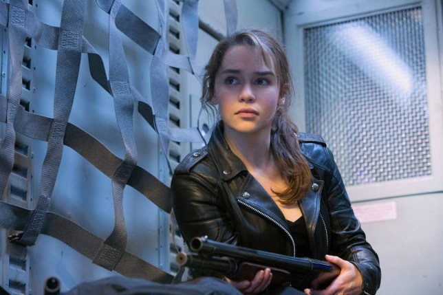"""This image released by Paramount Pictures shows Emilia Clarke in a scene from """"Terminator: Genisys,î the fifth film in the series created by James Cameron in 1984. (Melinda Sue Gordon/Paramount Pictures via AP)"""