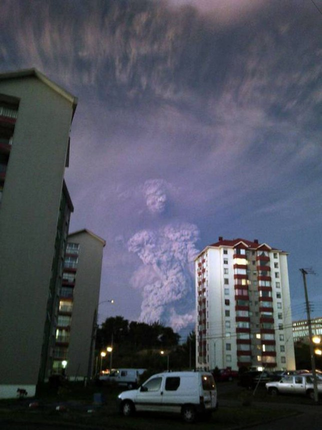 "Pic shows: The figure that looks like a human being, from the erupting Chile volcano.nnAn amazing photo taken during the eruption of Calbuco volcano in southern Chile shows what looks like a human being emerging from the ash and smoke.nnAnd now locals suspect it may be a mystical sign from the Gods.nnThe volcano which erupted yesterday for the first time in four decades sent a thick plume of smoke and ash over 12 miles into the sky as awe-stricken locals watched on.nnHariet Grunewald who lives in the nearby town of Puerto Montt and who captured the spooky man-like figure said: ""When I heard the eruption I rushed to the window of my house and just started taking photos.nn""And then I saw this man appear.nn""At first I thought perhaps it was just me who could see him.nn""But when I showed my friends and family they all agreed.""nnNow people living in the town say the ghostly apparition could be a sign.nnLocal man Manzur Olivo Candelaria, 54, said: ""Some dramatic photos came out of the eruption, but I didn¿t see any quite like this.nn""You can clearly see a head and body and on the face is a pair of eyes and a nose.nn""The eyes seem to be closed, maybe in fear or dread.""nnAnother, Juanma Ortiz Arredondo, 60, said: ""An erupting volcano is God¿s way of showing he is unhappy.nn""This smoke man is probably a message.nn""That HE is keeping a watch on us and our behaviour.""nnVolcanos have long had mythical status in Chile.nnIn the 600-mile Atacama Desert, locals talk about a love triangle between the Licancabur and Juries volcanoes and nearby Mount Quimal.nnAccording to legend, the volcanoes are people from ancient royalty battling against the advance of the mountain.nn(ends)  n"