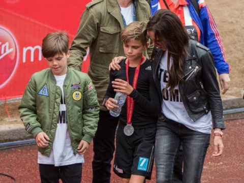 London Marathon 2015: Beckhams cheer on Romeo in children's race