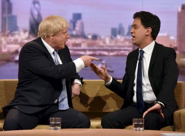 Britain's opposition Labour Party leader Ed Miliband (R) and Boris Johnson, mayor of London, talk on the Andrew Marr show in London April 26, 2015. REUTERS/Jeff Overs/BBC/Handout via Reuters ATTENTION EDITORS - THIS PICTURE WAS PROVIDED BY A THIRD PARTY. REUTERS IS UNABLE TO INDEPENDENTLY VERIFY THE AUTHENTICITY, CONTENT, LOCATION OR DATE OF THIS IMAGE. THIS PICTURE IS DISTRIBUTED EXACTLY AS RECEIVED BY REUTERS, AS A SERVICE TO CLIENTS. FOR EDITORIAL USE ONLY. NOT FOR SALE FOR MARKETING OR ADVERTISING CAMPAIGN. NO SALES. NO ARCHIVES.