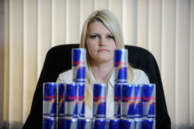 Sarah Weatherill who was addicted to drinking 24 cans of Red Bull energy drink a day whilst studying Law.  A mum-of-four has finally overcome her addiction to Red Bull after using hypnosis to end her shocking habit of downing a whopping 24 cans every DAY.  See NTI story NTIREDBULL.  Sarah Weatherill forked out a staggering £5,460 every year - on the energy drink which is extremely high in caffeine.  The 31-year-old's addiction was at its worst in 2010 when she was studying for on a law course at college and was under pressure to revise for exams.  She used to pay £15 every day, or £105 every week, to make sure she had enough Red Bulls for her 24 can a day habit - which is the equivalent of 48 cups of coffee.  Sarah said she soon became dependent on the energy drinks and wouldn't get out of bed unless she knew she had some in the fridge.  The mum-of-four also became lethargic and depressed and was constantly feeling anxious as the addiction grew.  She finally decided to do something about the problem this year when she realised the constant need for Red Bull had changed her personality.  And Sarah beat her demons earlier this month after she visited a hypnotherapist who persuaded her to cut the habit completely.