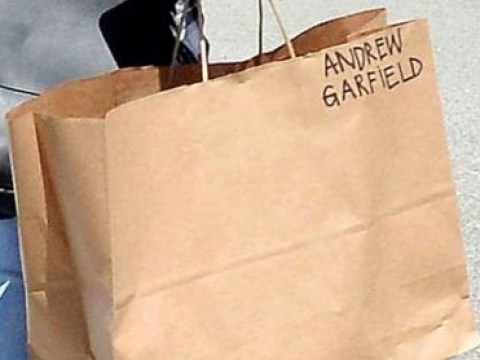 Emma Stone is either really missing Andrew Garfield or there's a far more sensible explanation to this paper bag