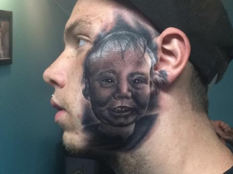 Dad gets massive portrait of young son tattooed on his face
