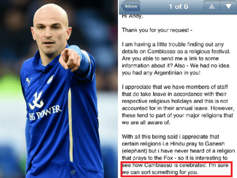 Leicester City fan is getting day off work after claiming Esteban Cambiasso religious holiday