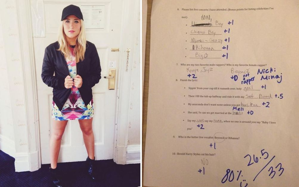 Girl gives boyfriend Beyoncé exam to see if they should stay together