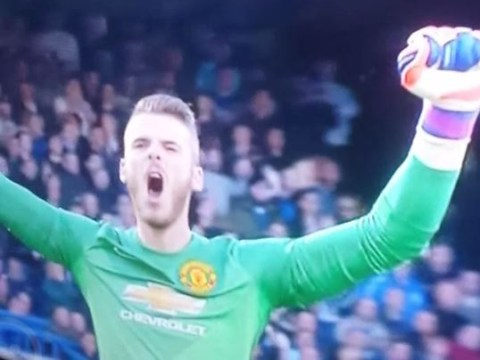 David de Gea celebrates Wayne Rooney's strike for Manchester United against Chelsea, doesn't realise it hasn't gone in