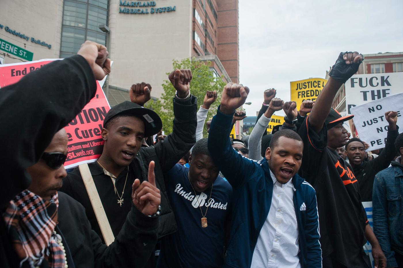 Demonstrators protest the death of Freddie Gray (Picture: EPA