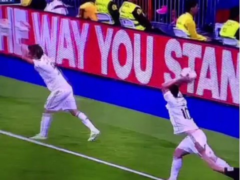 James Rodriguez and Fabio Coentrao unwittingly synchronise throw-in during Real Madrid's win v Almeria