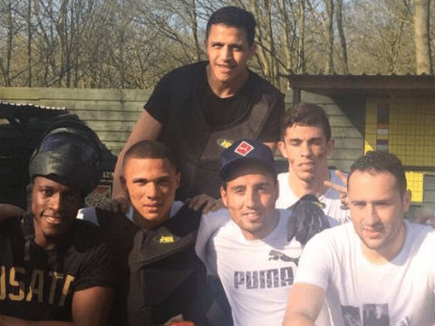 Arsenal stars Danny Welbeck, Kieran Gibbs and Alexis Sanchez get 'lit up' in paintballing session