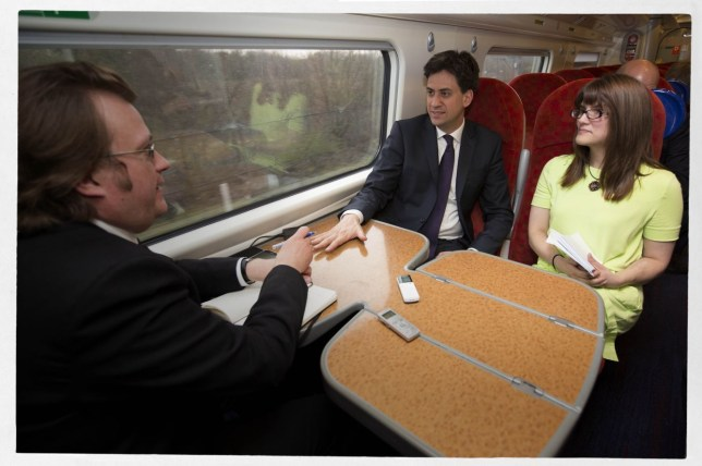 In the hot seat: Ed Miliband answers questions from Metro's Joel Taylor and Sharon Lougher (Picture: Gretel Ensignia)