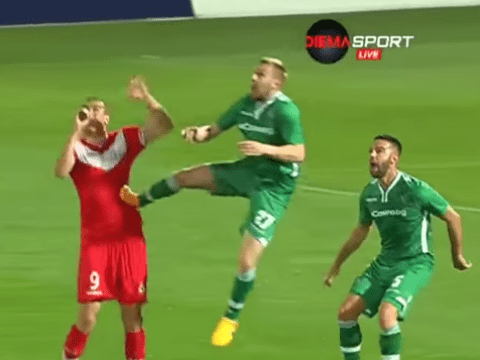 Ludogorets defender Cosmin Moti stops attacker with brutal kung-fu kick to abdomen