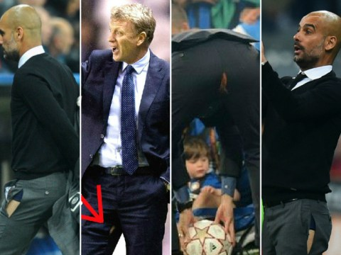 Pep Guardiola copies David Moyes and Chelsea's Jose Mourinho by tearing trousers during Bayern Munich match