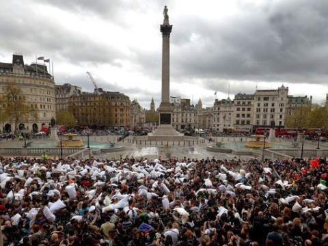 People are bashing each other with pillows in Trafalgar Square