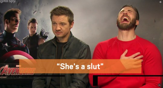 """Chris Evans and Jeremy Renner are under fire for a new interview with Digital Spy, in which they jokingly describe Scarlett Johansson's Black Widow character in The Avengers as a """"slut"""" and a """"whore"""". Credit: Digital Spy"""