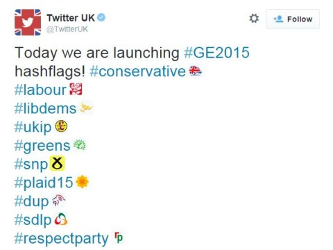 General Election 'hashflags' are the new thing on Twitter