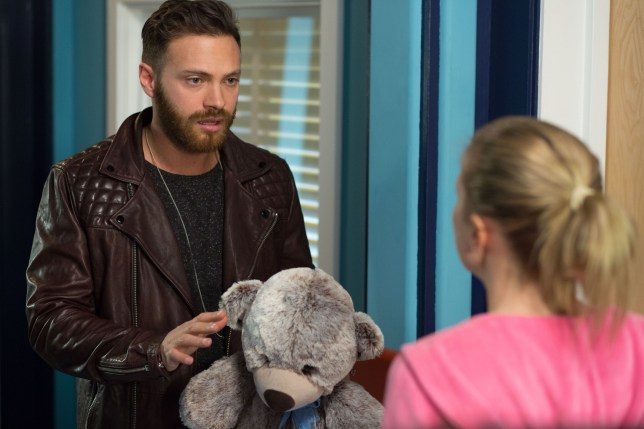 WARNING: Embargoed for publication until 05/05/2015 - Programme Name: EastEnders - TX: 15/05/2015 - Episode: 5068 (No. n/a) - Picture Shows: Dean confronts Linda about the baby.  Dean Wicks (MATT DI ANGELO), Linda Carter (KELLIE BRIGHT) - (C) BBC - Photographer: Jack Barnes